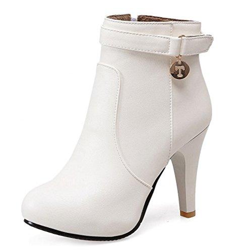 COOLCEPT Mujer Moda Stiletto Ankle Botas With Cremallera Otono Invierno Zapatos 16 White