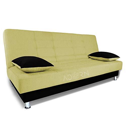 adorn india alyssum 3 seater sofa cum bed (green & black)