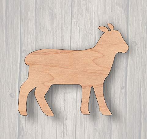 MarthaFox Lamb Unfinished Wood Cutout Wood Cutout Laser Cutout Wood Sign Sign Blank Ready to Paint Door Hanger Livestock ()