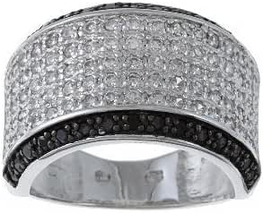 Sterling Silver Black and White CZ Wide Band Ring
