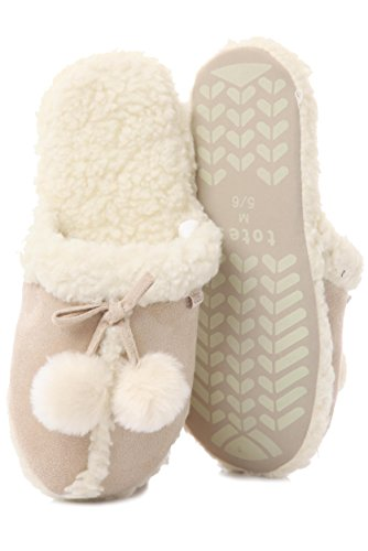 Damen 1 Paar Pom Pom Totes Schaf-Haut-Effekt Mule Hausschuhe Stil 3 Farben Natürlich