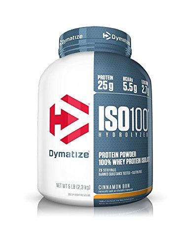 Dymatize ISO100 Hydrolyzed Protein Powder, 100% Whey Isolate Protein, 25g of Protein, 5.5g BCAAs, Gluten Free, Fast Absorbing, Easy Digesting, Cinnamon Bun, 5 Pound