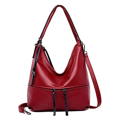 885a88c1f6d5 Chibi-store genuine leather for women shoulder bag female large tote hand  bags,Red Wine,(30cm-Max Length-50cm)