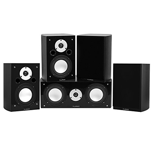 Fluance Reference Series Compact Surround Sound Home Theater 5.0 Channel Speaker System Including Two-Way Bookshelf, Center Channel, and Rear Surround Speakers - Black Ash (XL50BC)