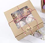 15 Packs Bakery Box Cupcake Boxes and Rope with