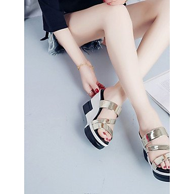 Black Heel EU39 Summer RTRY 2 CN39 Silver Soles Sandals Women'S Gold Light Pu 4In Dress 2In US8 3 UK6 Wedge qXTqv8xw