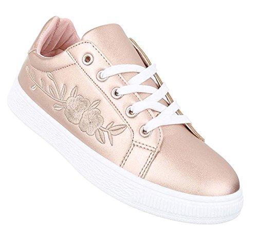 Damen Sneakers Patches | Sportschuhe Schnürer | Hallenschuhe weiße Sohle | Seitliche Stickerei | Turnschuhe Low | Schuhcity24 Rosa