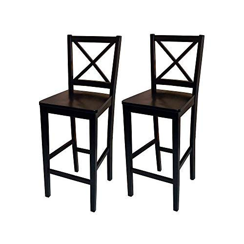 Target Marketing Systems Set of 2 Virginia Cross Back Stools, Set of 2, Black ()
