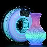 AMOLEN PLA 3D Printer Filament, Glow in The Dark Multicolor Change PLA Filament 1.75mm 1kg,Color Change Every 10 Meters