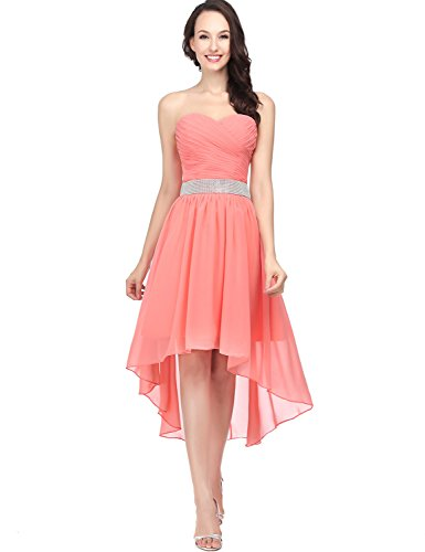 Sweetheart Dance Dresses (Belle House Women's Homecoming Dresses High Low 2017 New For Juniors Chiffon A Line Strapless Prom Dress Coral Color Size 14)