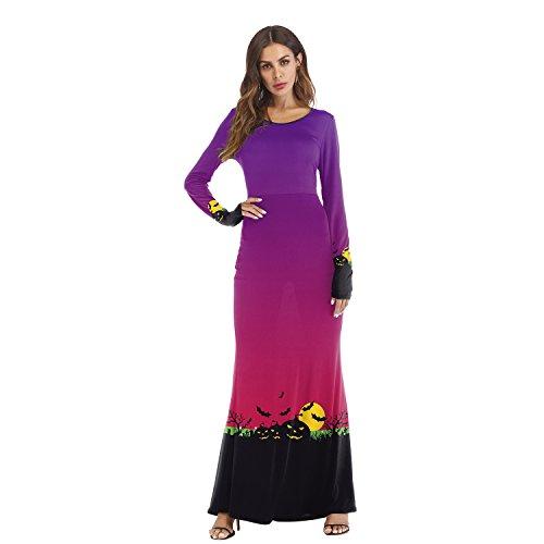 Mengjie Holloween Costume Costume COS Dress Up Ball Lantern Long Sleeve Dress, Purple, M -