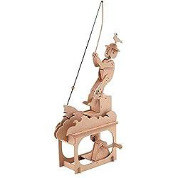 Clockwork Dreams Automata Kit, Natural Wood Series, Good Fishing - CWD202 - Mini Machine Wood Kit