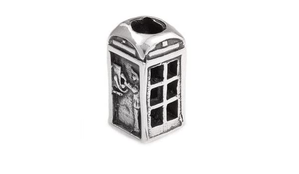 Abalorio plateado Silverado con diseño de una caseta telefónica, para pulseras Pandora, Chamilia y Troll: Amazon.es: Joyería