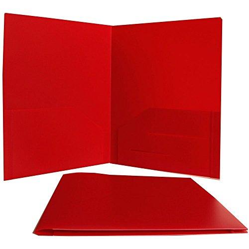 Generic Red Heavy Duty Plastic 2 Pocket Presentation School Folder by Generic