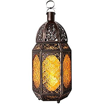Lewondr Metal Glass Candle Lantern, Moroccan Style Portable Candle Holder Pavilion Shape Bowl Bottom Decorative Hanging Lamp Wind Lantern Décor for Home Patio Balcony Garden - Copper + Yellow