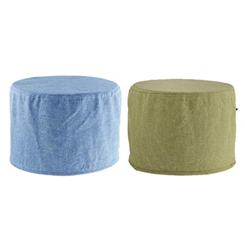 CUTICATE 1 Pair Comfort Cotton Round Stool Cover,Cotton Linen Slipcover for Footstool (Ottoman Round Covers)