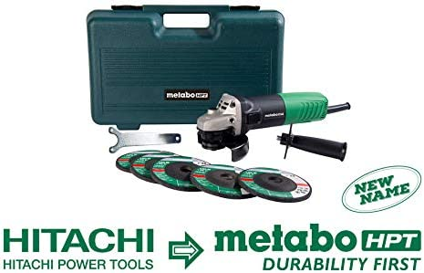 Metabo HPT Angle Grinder, 4-1 2 , Includes 5 Grinding Wheels Hard Case, 6.2-Amp Motor, Compact Lightweight, 5 Year Warranty, G12SR4