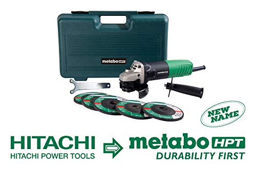 "Metabo HPT Angle Grinder, 4-1/2"", Includes 5 Grinding Wheels & Hard Case, 6.2-Amp Motor, Compact & Lightweight, 5 Year Warranty, G12SR4"