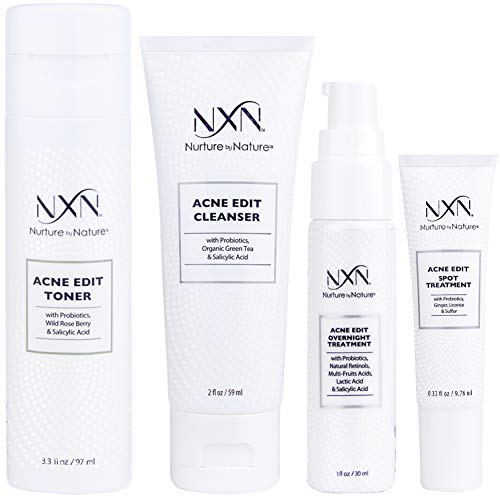 NxN Acne Treatment 4-Step Clear Skin System with Probiotics, Natural Multi-Fruit Extracts and Salicylic Acid for Acne Blemishes and Breakouts For all Skin Types (Including Sensitive Skin) ()
