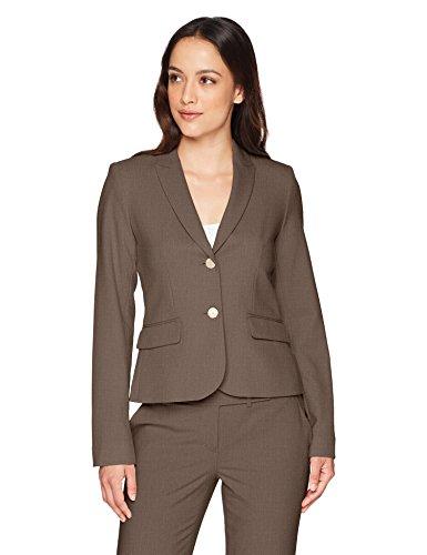 Calvin Klein Women's Two Button Lux Blazer (Standard & Petite Sizes), Heather Taupe, 6P