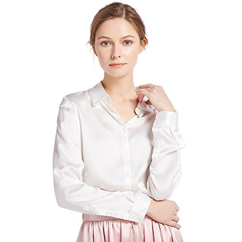 LilySilk Women's 100 Silk Blouse Natural Long Sleeve Lady Shirt 22 Momme Pure Charmeuse Silk White Size ()