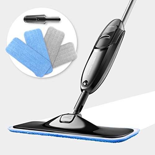 Spray mop, iTvanila Microfibre Mop with 4 pcs Reusable Microfibre Pads 360 Degree Rotating Easy to Clean Dry/Wet Mop for Hardwood Floor, Wood, Laminate, Tile