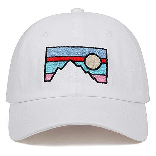 2019 New Men's Baseball Cap Dusk Sunset Embroidery Cotton hat Fashion dad hat Spring and Autumn Cotton Hats White