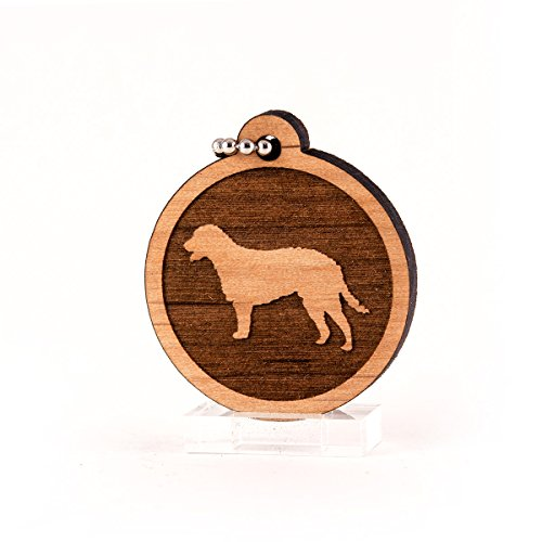 (Sunset Design Lab Curly Coated Retriever for AKC Dog Pet American Kennel Club Wood Laser Cut Keychain Charm Ornament)
