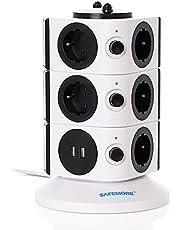 SAFEMORE stekkerdoos overspanningsbeveiliging 11 stopcontacten stopcontacten 2 USB laadaansluitingen met 2 m verlengkabel voor huishoudelijke apparaten (wit + zwart, 3L serie)
