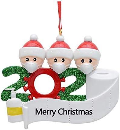 2pcs Tre persone Sopravvissuto Famiglia Ornamento 2020 Artigianato per decorazioni natalizie Invia benedizioni puntale albero di natale elfo natale addobbi DIY Pendente Festa di vacanza per la casa
