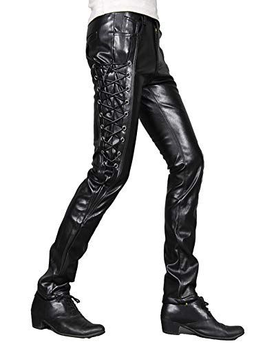 Idopy Men`s Rock Steampunk Lace Up PU Leather Pants Slim Fit (33, 1369 black) -