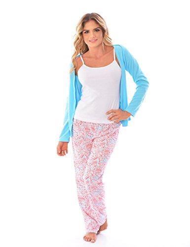 Womens Pajamas 3 Piece Pajama Set: Long Sleeve, Pants and Cami Top (Womens Cami Top Pants)