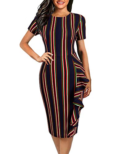 - Naive Shine Women's Vintage Short Sleeve Retro Office Bodycon Pencil Dress Multicolor Striped Size M