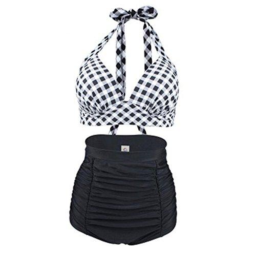 Traje de baño de las señoras Lattice Stitching Bikini ninguÌ n cojín del pecho de acero Beach Split High Waist Swimsuit Bikini D