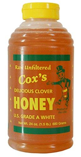 Cox's Raw Honey - Unfiltered Liquid Honey | 100% Pure Clover Delicious Honey, 24 ()