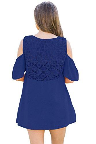 Neuf Bleu Crochet cou et Noir froid épaule Blouse de soirée pour femme Tenue décontractée d'été Taille UK 10EU 38