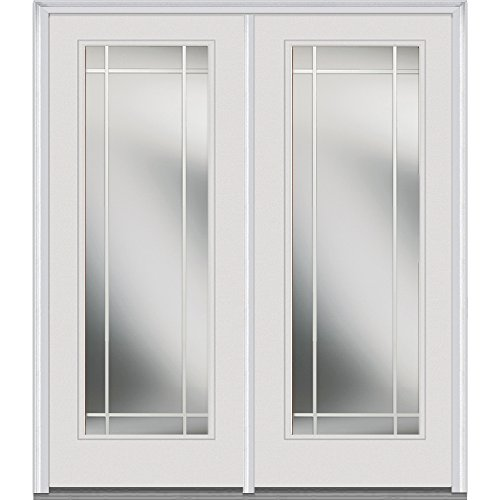 National Door Company ZZ01608R Fiberglass Smooth, Primed, Right Hand In-Swing, Center Hinged Patio Door, Clear Glass Internal Grilles, 60