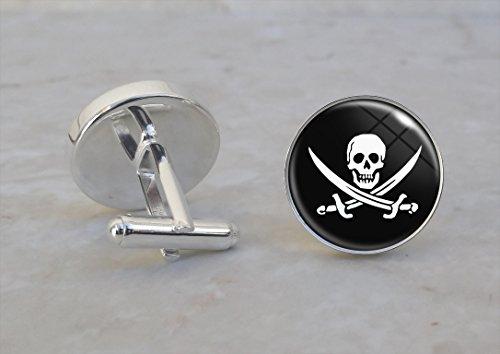 Silver Symbol Cufflinks (Jolly Roger Pirate Symbol Skull and Cross Bones .925 Sterling Silver Cufflinks)