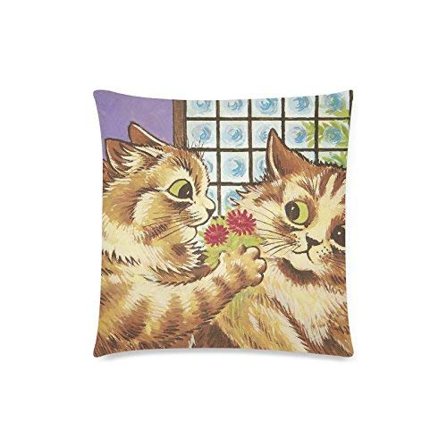 Large beach pants Fashion Custom Twin Sides Pillow Protector-Comfortable Home Sofa Pillow Case-Louis Wain Wallpaper Floral Cat Wain -