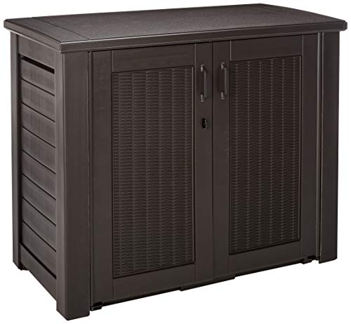 Rubbermaid Patio Chic Outdoor Storage Deck Box, Black Oak Rattan Wicker Basket Weave (1863391) - Oak Patio Door