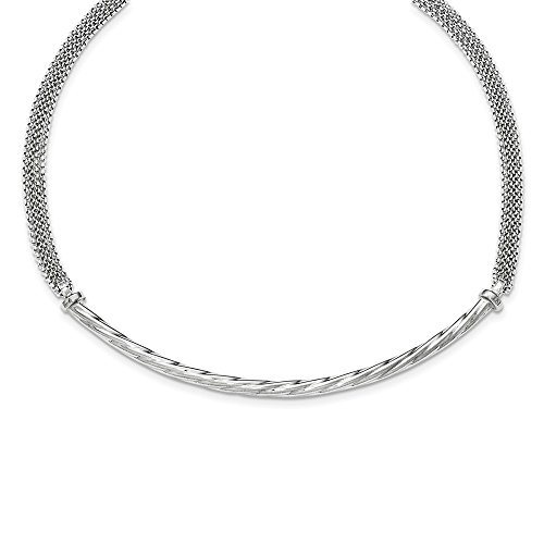 Sterling Silver Polished Fancy Mesh With Twisted Element Necklace Length 18 Inch