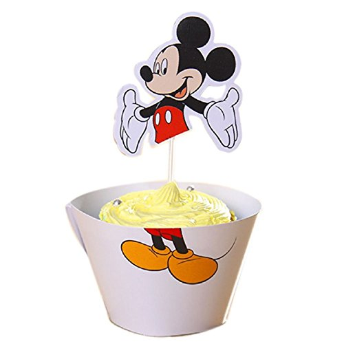 Mickey Mouse Cupcake Wrappers & Topper Kit Set of 1 - Cardboard Mickey Mouse