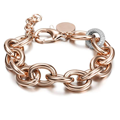 CIUNOFOR CZ Bracelet for Women Girls Wide Cuban Curb Link Bracelet Italian Style Oval Bracelet Silver Rose Gold Plated Adjustable Stainless Steel Chain with Round Disc Charm (Rose Gold and ()