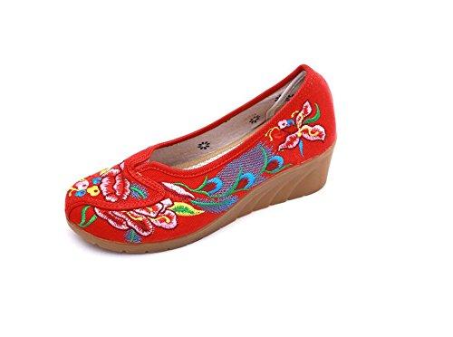 Lazutom Red Para Mujer De Mocasines Lona pqw1pr