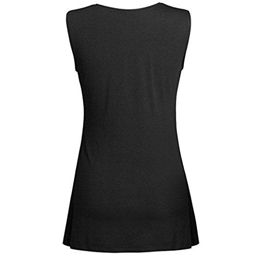 Dbardeur sans Taille Chic Manche Femme T Grande Sexyville Tops Plier Femme Tank Col Chemisier Solide Noir V Gilet Shirt ftdqx