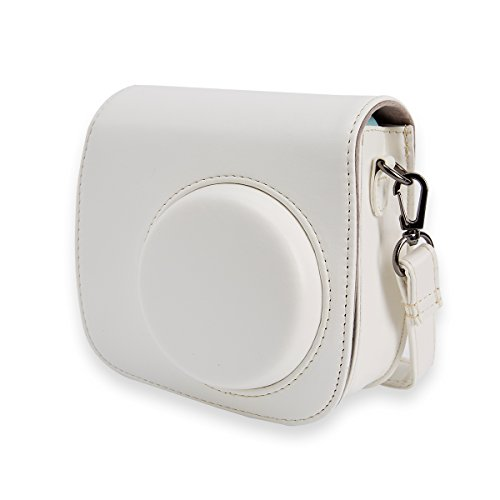 Alohallo Camera Case PU Leather Carring Bag for Fujifilm Instax Mini 9 Instant Camera, and for Fujifilm Instax Mini 8 Instant Film Camera with Shoulder Strap - White A ()