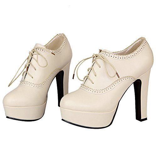 Jamron Big Heel Brogue High Elegant Lace Closed Oxfords Women Heeled Beige Block Toe up Pumps Platform Size rqHrn6