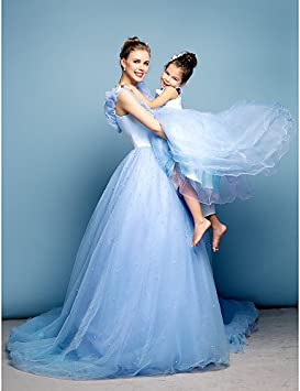ZH Formal de vestido de fiesta, color azul Plus tamaños/Petite off-the