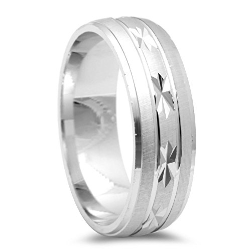 Men's Fancy Designer Diamond Cut Wedding Band .925 Sterling Silver - Size 10