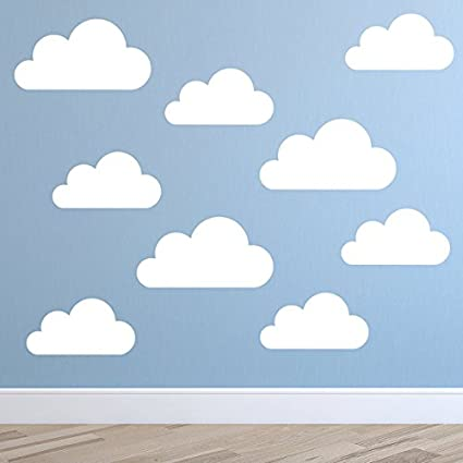 Gengalengd Set Of Large Clouds Wall Decal C Nursery Wall Decal Childs Room Wall Decal C Cloud Decal C Cloud Wall Art Cloud Vinyl Wall Sticker Home Kitchen